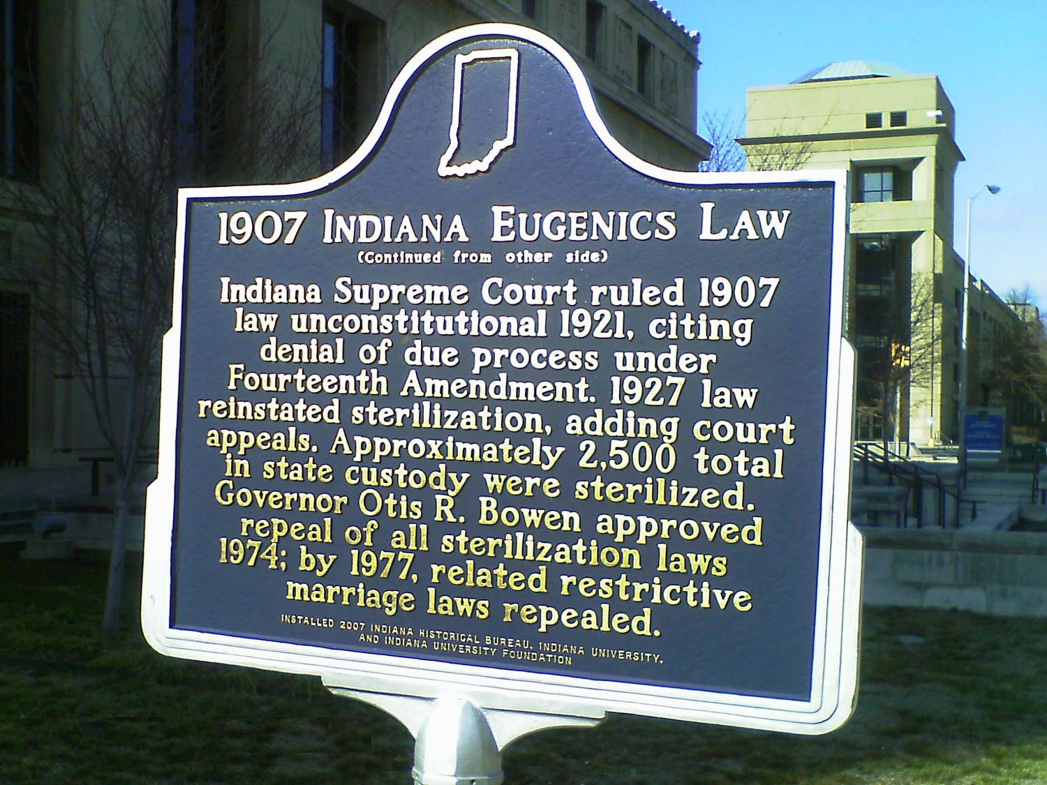 Indiana Eugenics Law Marker