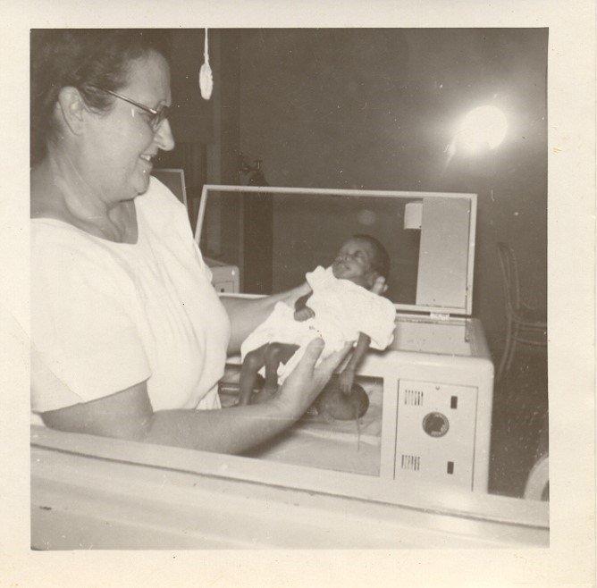 Infant Betty Williams with Incubator
